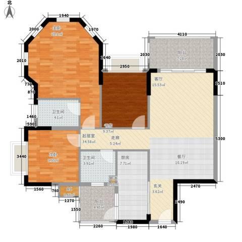 锦绣御景苑3室0厅2卫1厨114.00㎡户型图