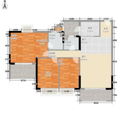 锦绣御景苑3室0厅2卫1厨129.00㎡户型图