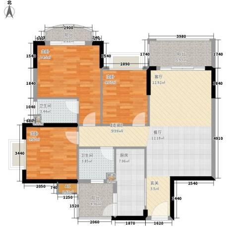 锦绣御景苑3室0厅2卫1厨107.00㎡户型图