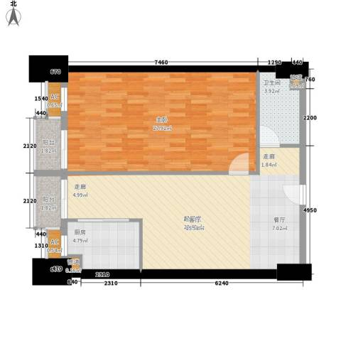 尚德大厦1室0厅1卫1厨79.00㎡户型图