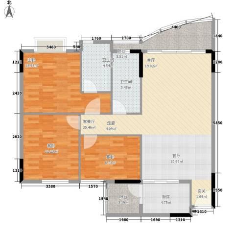 旭景家园3室1厅2卫1厨129.00㎡户型图
