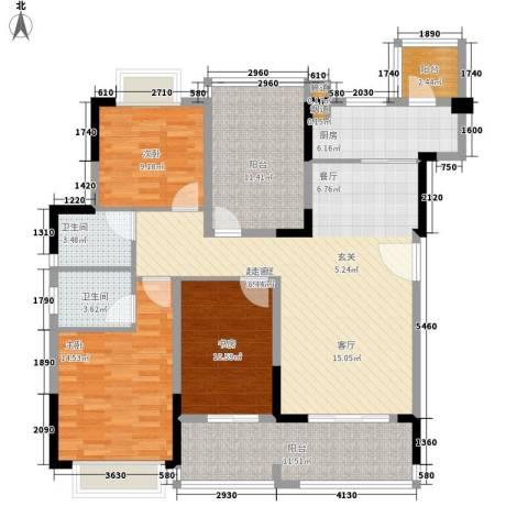 翰林国际3室0厅2卫1厨120.00㎡户型图