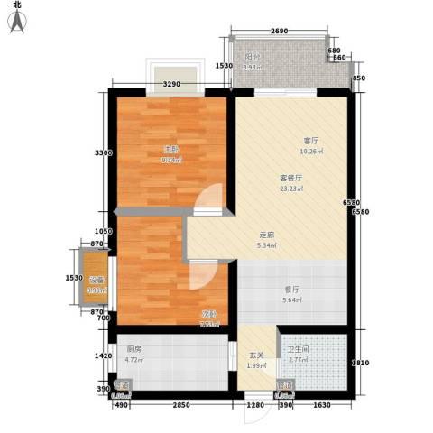 保亿・风景大院2室1厅1卫1厨81.00㎡户型图