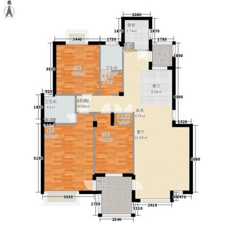 万科四季花城3室0厅2卫1厨158.00㎡户型图