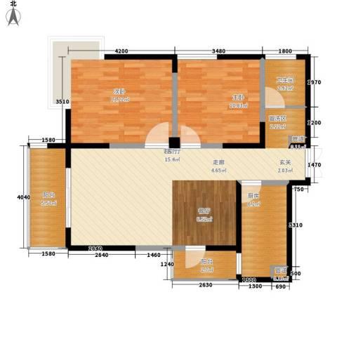 红谷凯旋2室1厅1卫1厨102.00㎡户型图