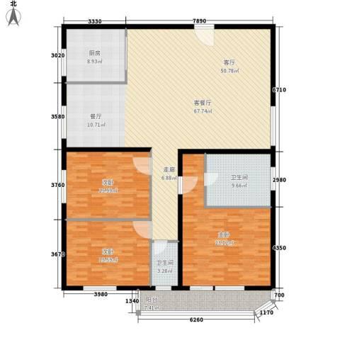 景润花园3室1厅2卫1厨167.00㎡户型图