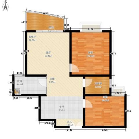 红谷凯旋2室1厅1卫1厨99.00㎡户型图