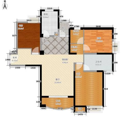 红谷凯旋3室1厅2卫1厨135.00㎡户型图
