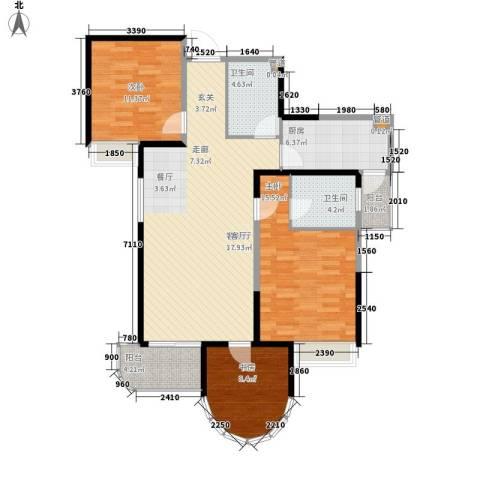 红谷凯旋3室1厅2卫1厨110.00㎡户型图