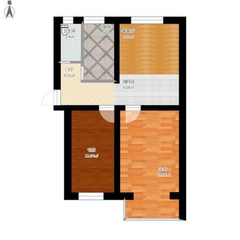 新街口外大街甲28号院2室1厅1卫1厨88.00㎡户型图