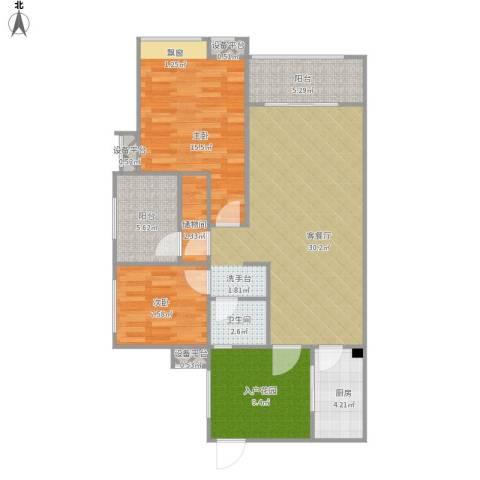 西充领秀城2室1厅1卫1厨115.00㎡户型图