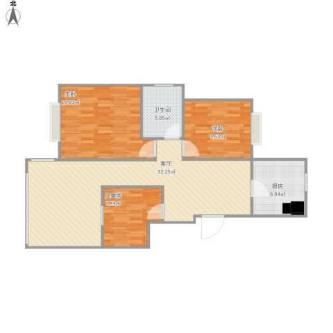 城际景苑3室1厅1卫1厨104.00㎡户型图