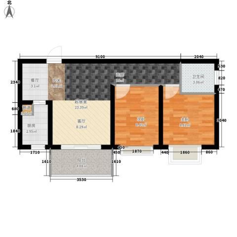 风华四季园2室0厅1卫1厨68.00㎡户型图