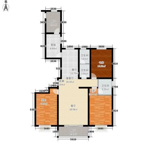 天域嘉园3室1厅3卫1厨160.00㎡户型图