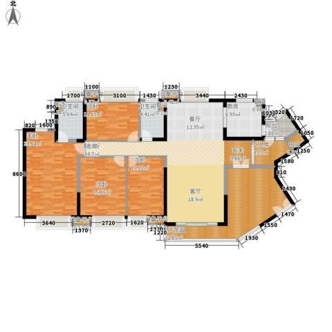 中海金沙湾4室1厅2卫1厨187.00㎡户型图