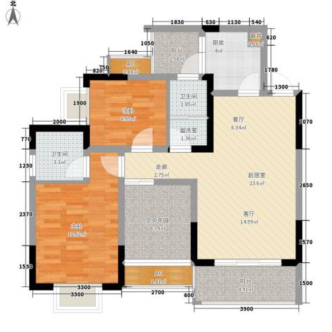 城郊涉外桃源2室0厅2卫1厨105.00㎡户型图