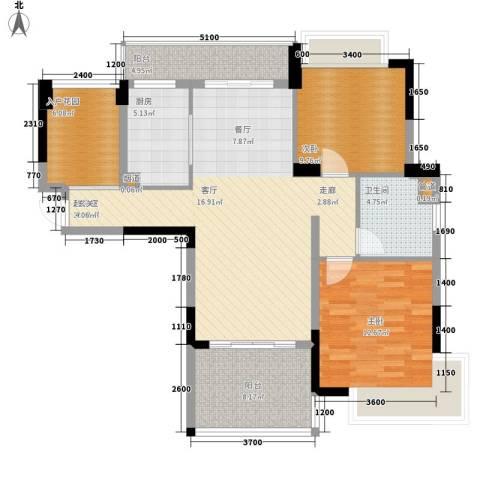 广州雅居乐花园浅山小筑2室0厅1卫1厨101.00㎡户型图