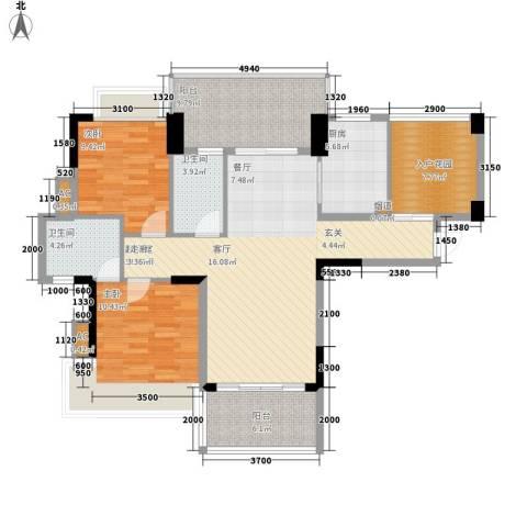 广州雅居乐花园浅山小筑2室0厅2卫1厨104.00㎡户型图