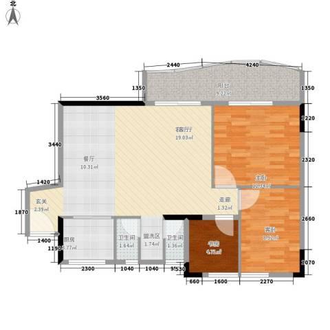 旭景家园3室1厅2卫1厨106.00㎡户型图