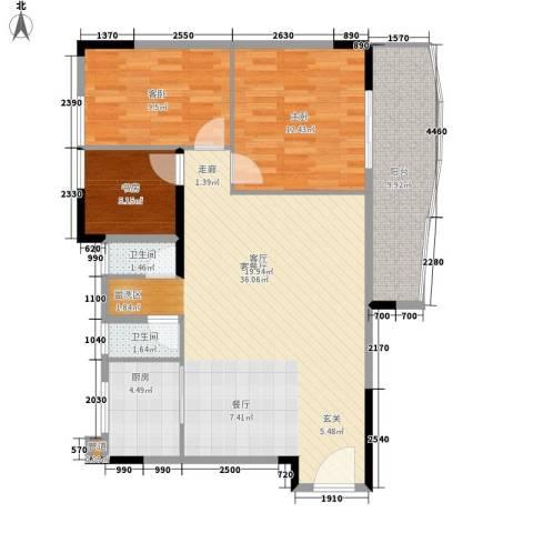 旭景家园3室1厅2卫1厨89.00㎡户型图
