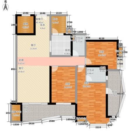 中海金沙湾3室1厅2卫1厨154.00㎡户型图