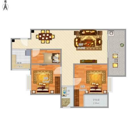 东方花园3室1厅2卫1厨95.00㎡户型图