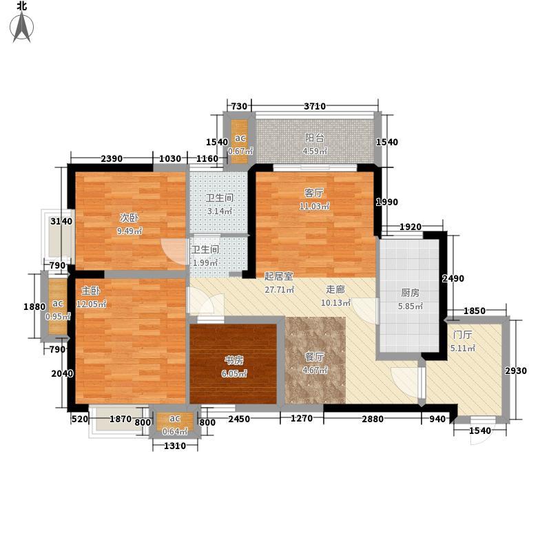 蓝山湖89.00㎡户型3室2厅