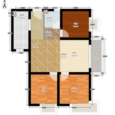 西铁小区3室0厅1卫1厨88.00㎡户型图