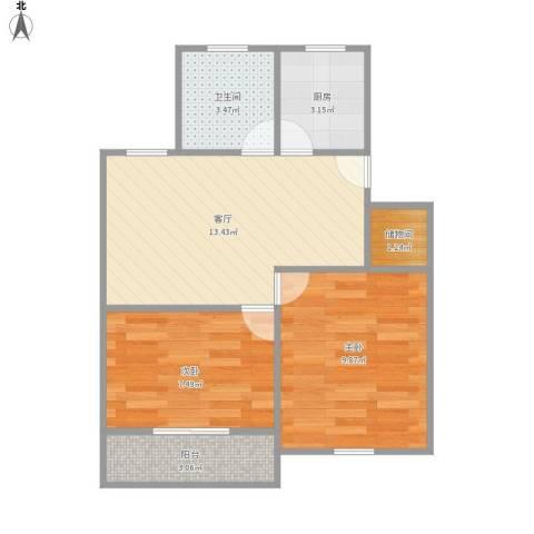 桥畔小区2室1厅1卫1厨57.00㎡户型图