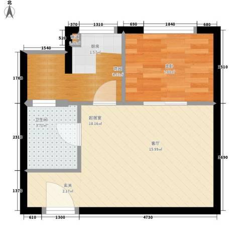 颐家春天1室0厅1卫0厨40.00㎡户型图