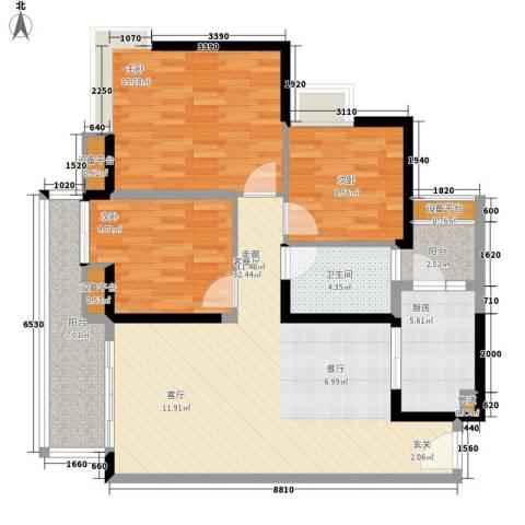 中海金沙湾3室1厅1卫1厨101.00㎡户型图