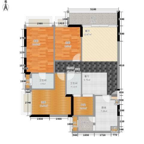 新世界逸彩庭园3室0厅2卫1厨102.00㎡户型图