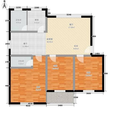 广宇银杉雅园3室0厅2卫1厨115.00㎡户型图
