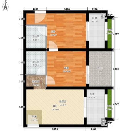 杰信花园2室0厅2卫2厨90.00㎡户型图
