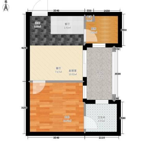 荔尚国际1室0厅1卫1厨42.00㎡户型图
