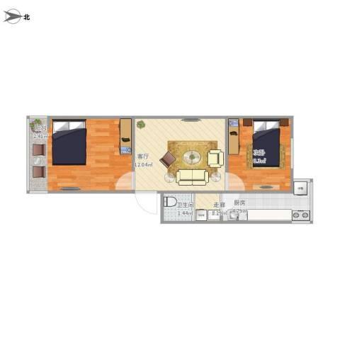 管道局八区2室1厅1卫1厨57.00㎡户型图