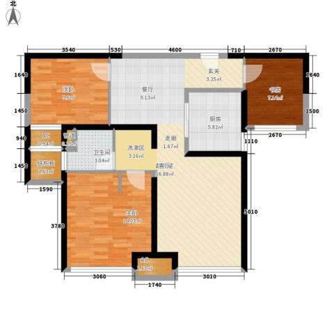 上海滩大宁城3室0厅1卫1厨90.00㎡户型图
