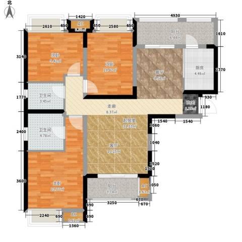 中海熙岸3室0厅2卫1厨104.00㎡户型图