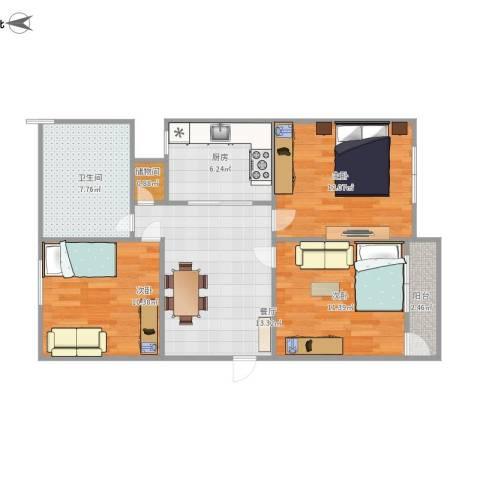 苍梧路468弄小区3室1厅1卫1厨87.00㎡户型图