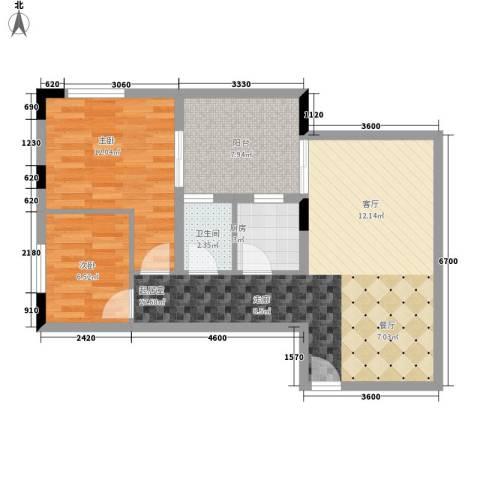 荔尚国际2室0厅1卫1厨69.00㎡户型图