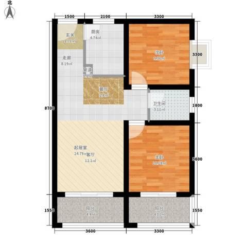 明珠花园2室0厅1卫1厨89.00㎡户型图