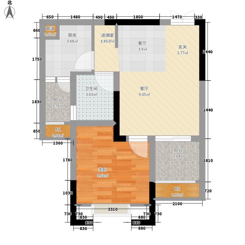 光华观府国际41.63㎡三期12号楼12层3号房户型