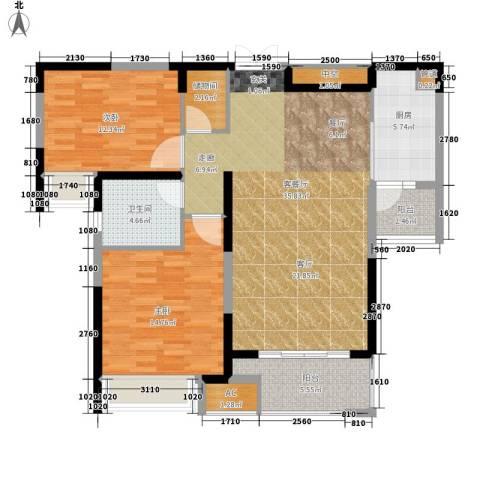中海熙岸2室1厅1卫1厨98.00㎡户型图
