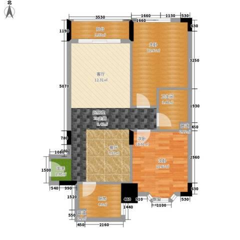 荔尚国际2室0厅1卫1厨73.00㎡户型图