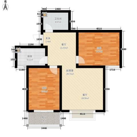 天洲沁园2室0厅1卫1厨84.00㎡户型图