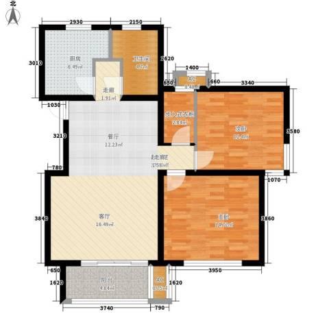 毕加索小镇2室0厅1卫1厨90.00㎡户型图