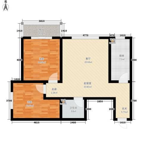 天洲沁园2室0厅1卫1厨89.00㎡户型图