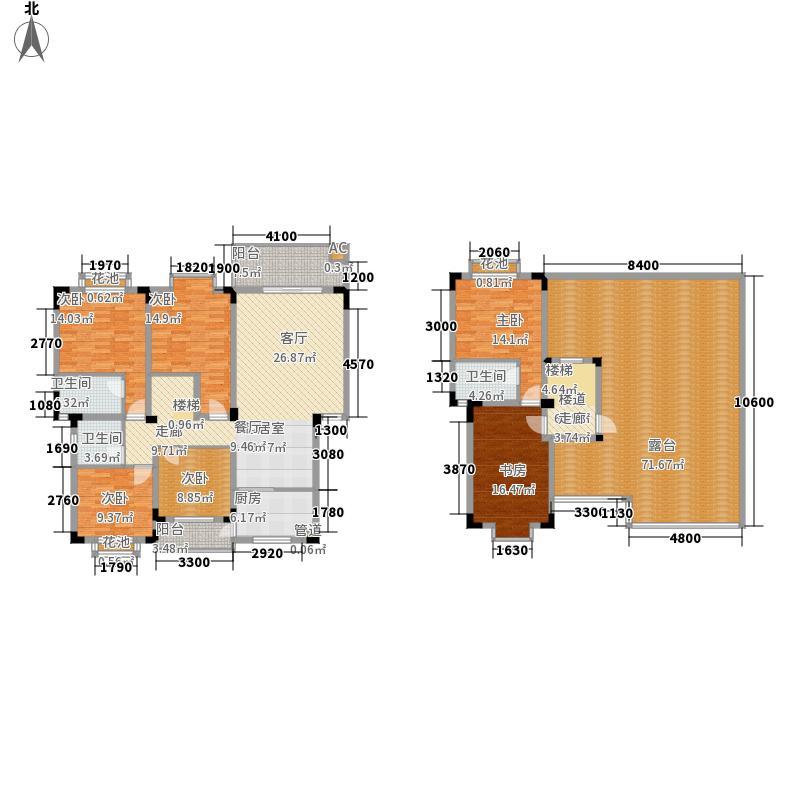 金海岸天府花园水城180.17㎡一期3号楼E跃层户型