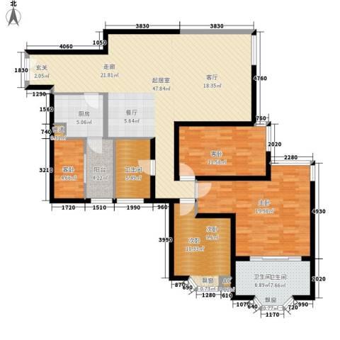 海珠半岛花园4室0厅2卫1厨133.00㎡户型图