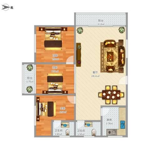 国贸花园3室1厅2卫1厨78.00㎡户型图